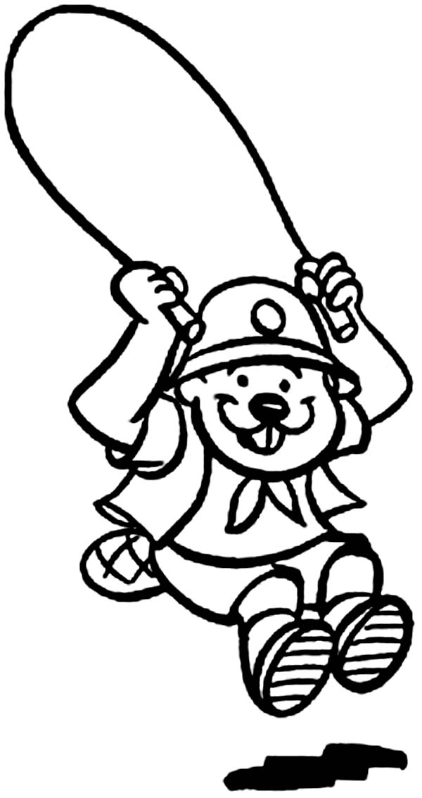 Beaver, : Beaver Jump Rope Coloring Page