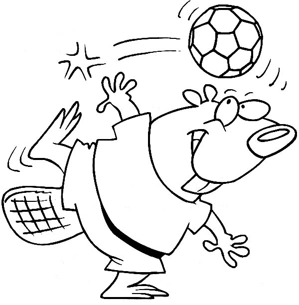 Beaver, : Beaver Playing Football Coloring Page