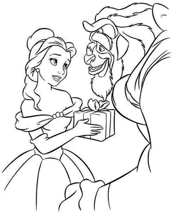 Belle, : Belle Give The Beast a Present Coloring Pages