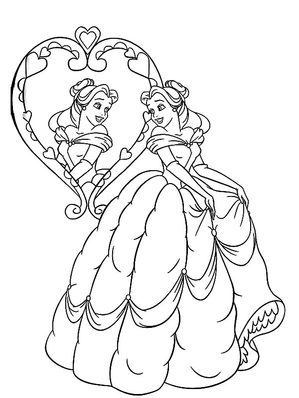 belle look in the mirror coloring pages