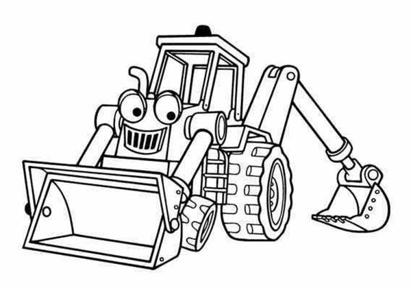 benny the excavator from bob the builder coloring page