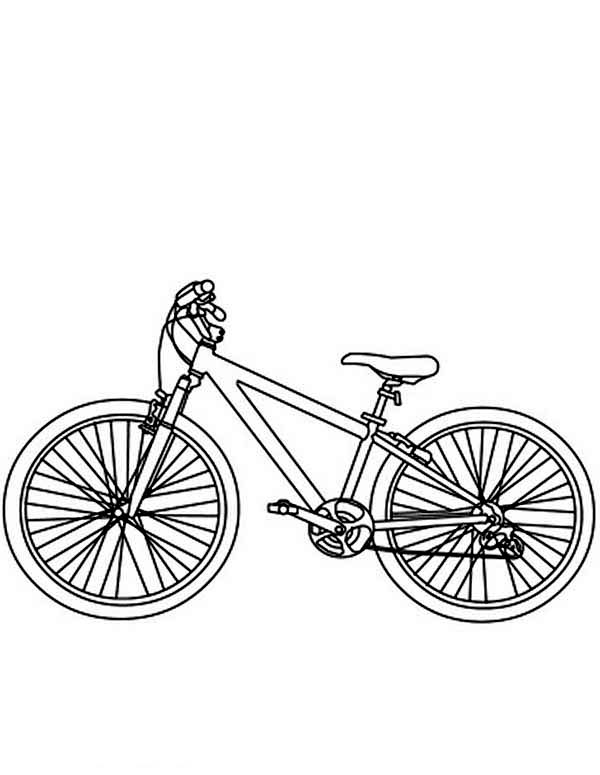 Bicycle, : Bicycle Coloring Page for Kids
