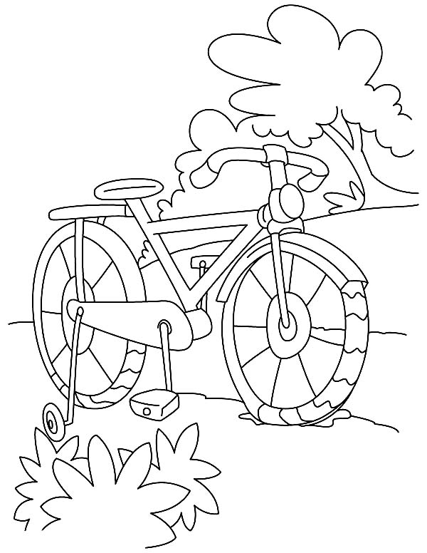 Bicycle, : Bicycle Parking at Park Coloring Page