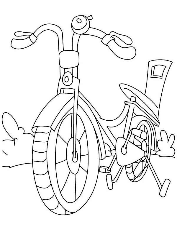 Bicycle, : Bicycle for Girl Coloring Page