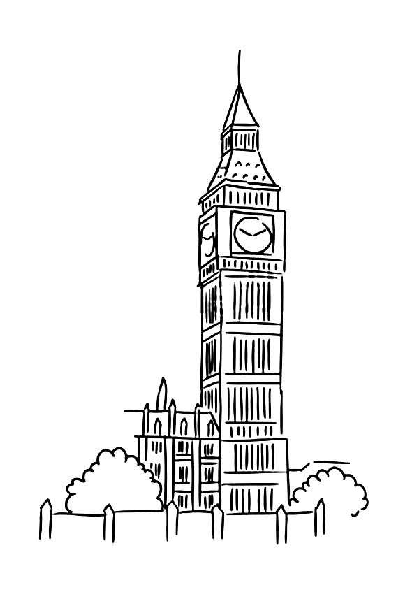 Big Ben, : Big Ben Coloring Page for Kids