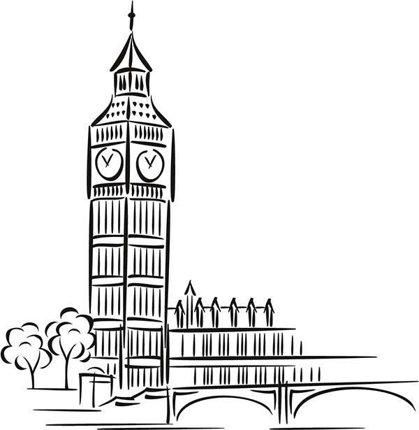 Big Ben, : Big Ben for Preschool Kids Coloring Page