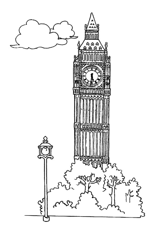 Big Ben For Tourism Coloring Page Coloring Sun