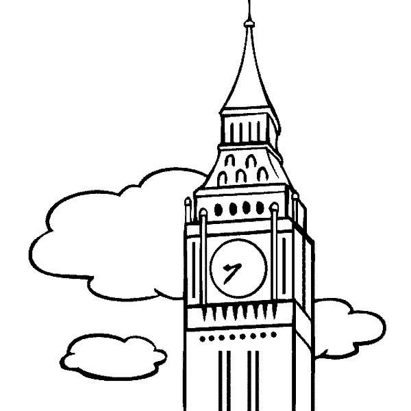 Big Ben, : Big Ben the Clock Tower Coloring Page