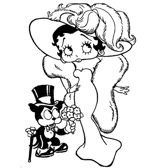 Betty Boop, : Bimbo Give Betty Boop a Bouquet of Flower Coloring Page