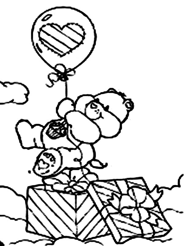 Care Bear, : Birthday Bear Came Out from Present Box in Care Bear Coloring Page