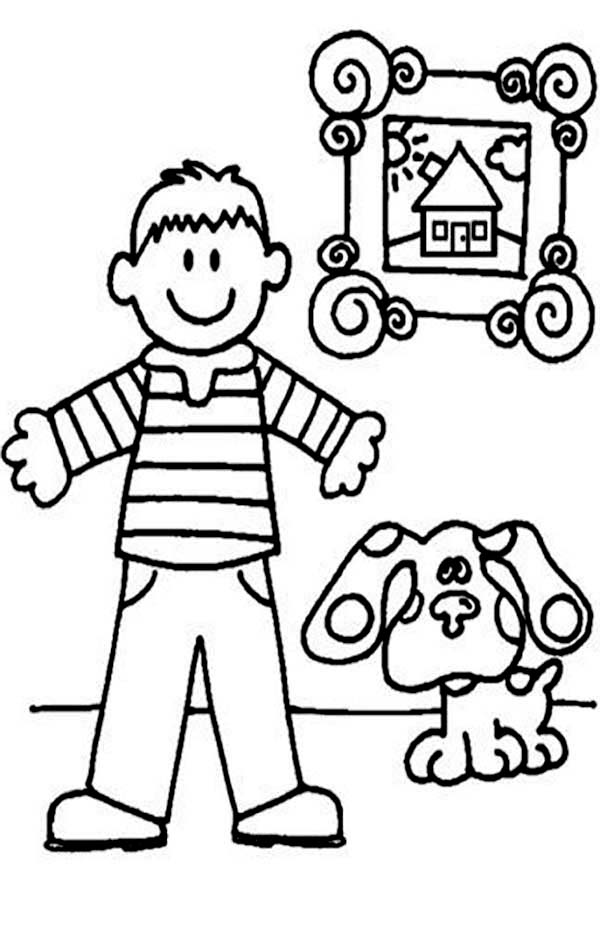 Blues Clues, : Blues Clues in the House with Steve Coloring Page