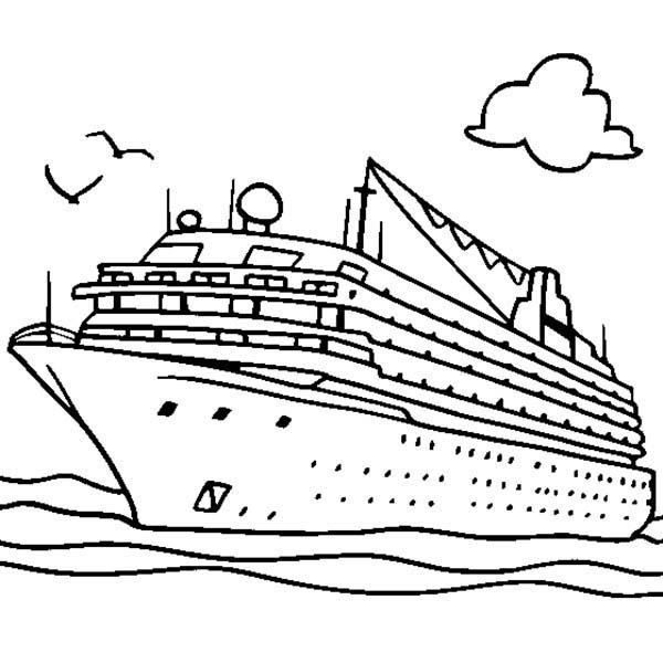 Boat, : Boat Coloring Page