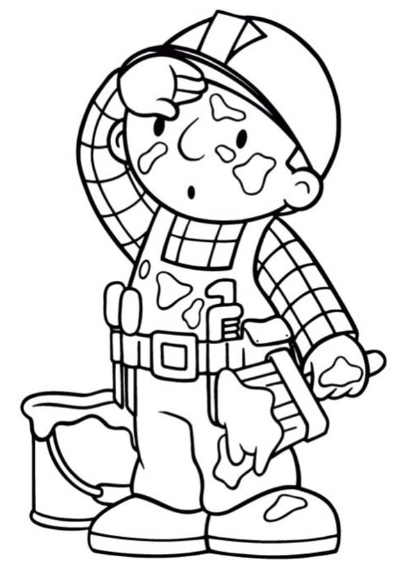 Bob the Builder, : Bob the Builder Full of Paint Stain Coloring Page