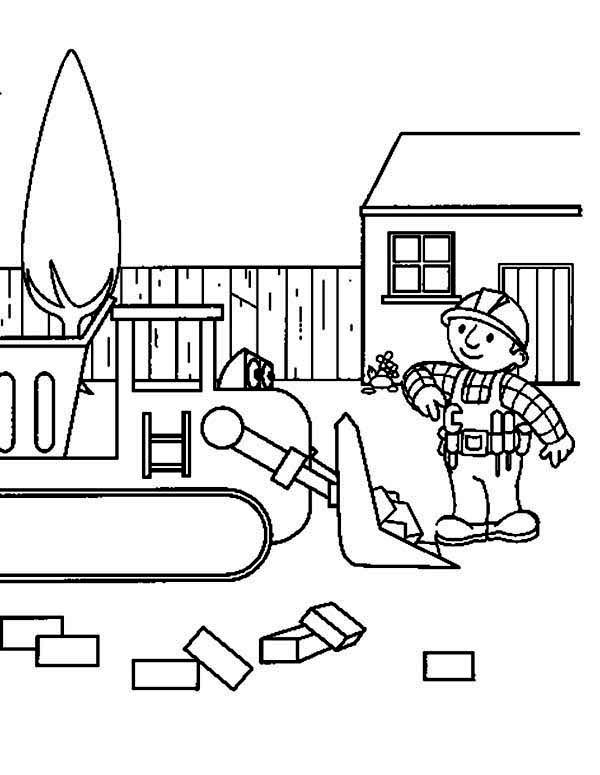 Bulldozer, : Bob the Builder Operating Bulldozer Coloring Page