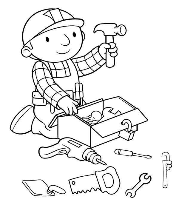 Bob the Builder, : Bob the Builder Preparing Tools Before Working Coloring Page