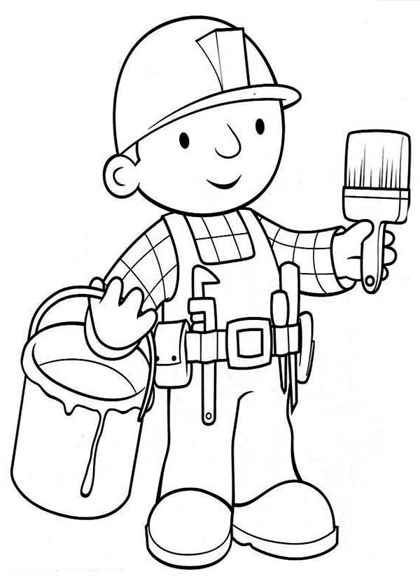 Bob the Builder Ready to Paint the Wall Coloring Page Coloring Sun