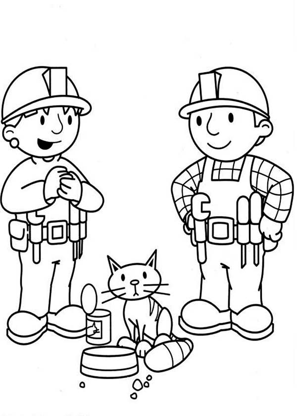 Bob the Builder, : Bob the Builder and Wendy Feeing Their Cat Coloring Page