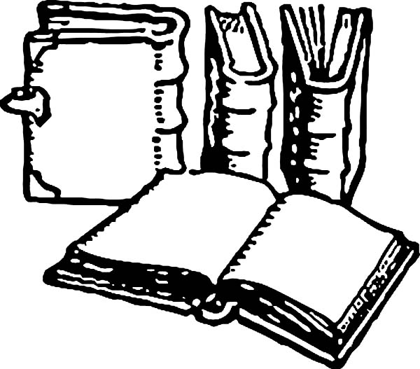 Books, : Book Coloring Page
