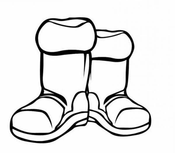 Winter Clothing, : Boots for Winter Season in Winter Clothing Coloring Page