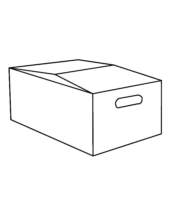 Box, : Box Coloring Page for Kids