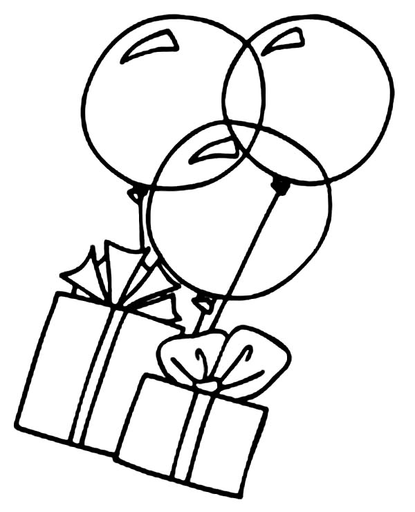 Box, : Box and Balloon Coloring Page