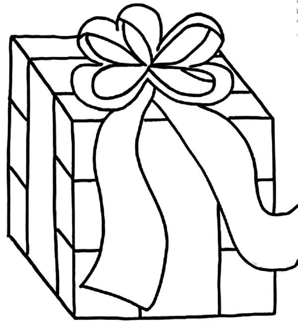 Box, : Box with Ribbon Coloring Page