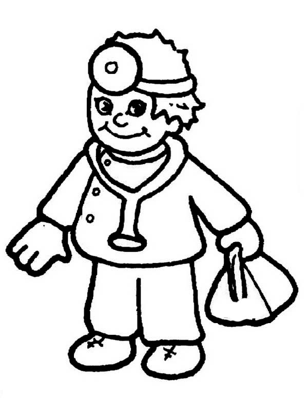 Doctor, : Boy Dressed as Doctor Coloring Page