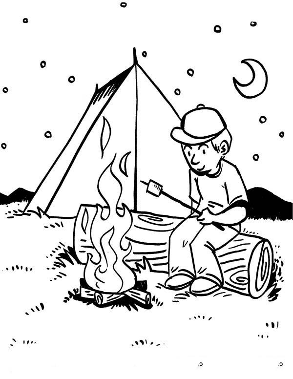 Camping, : Boy Roasting Delicious Marsmallow at Camping Coloring Page