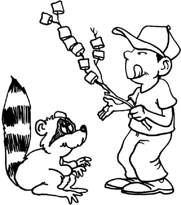 Camping, : Boy Shared His Marsmallow with Racoon at Camping Coloring Page