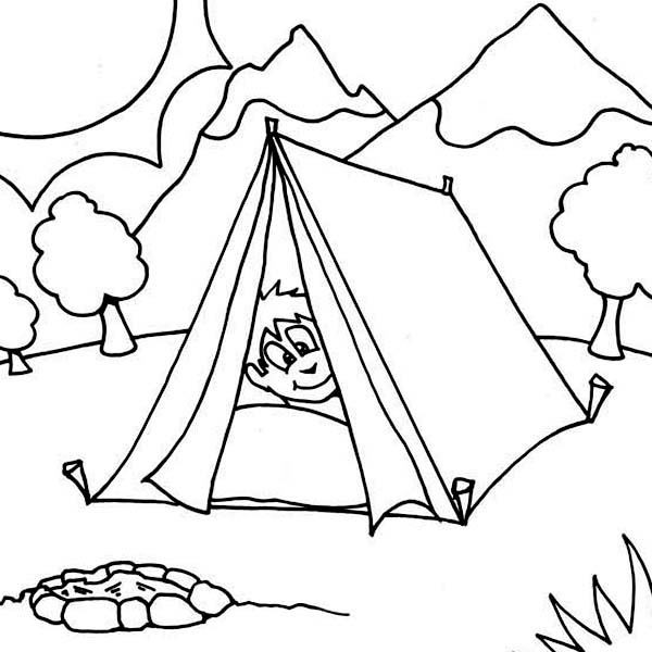 Camping, : Boy Sleeping at Camping Tent Coloring Page