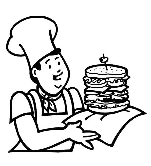 Breakfast, : Breakfast with Fast Food the Big Burger Coloring Page