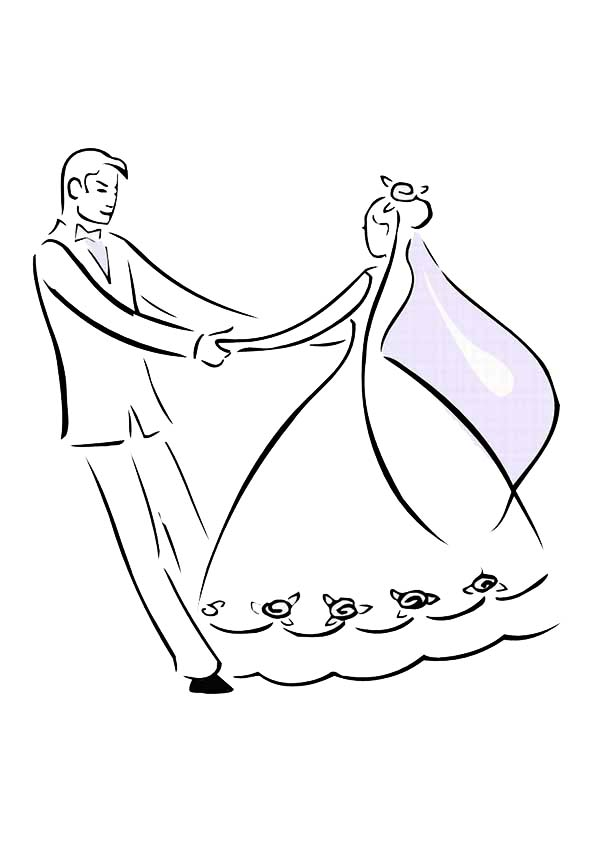 Wedding, : Bride and Groom Dance in Wedding Day Coloring Page