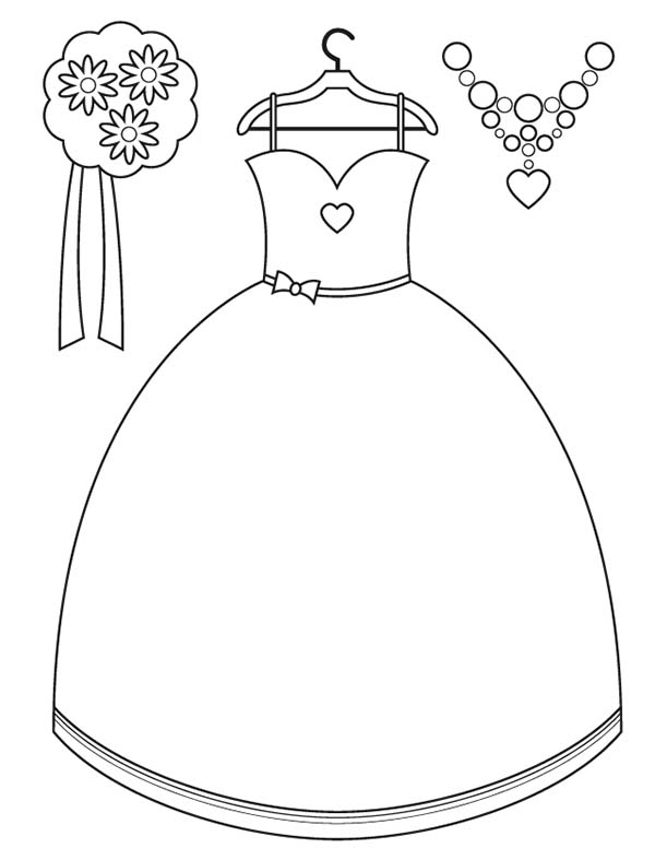 Dress, : Brides Maid Dress Accessories Coloring Page