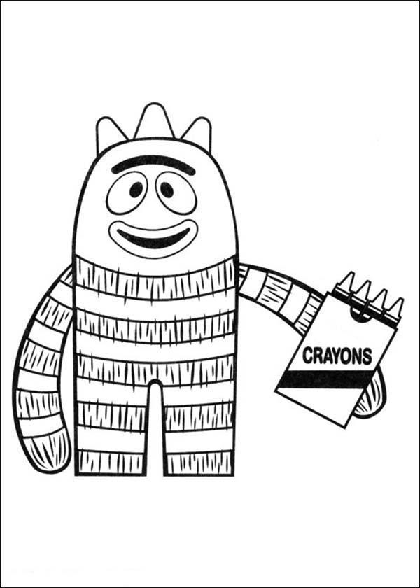 Yo Gabba Gabba, : Brobee Had Four Crayons in Yo Gabba Gabba Coloring Page