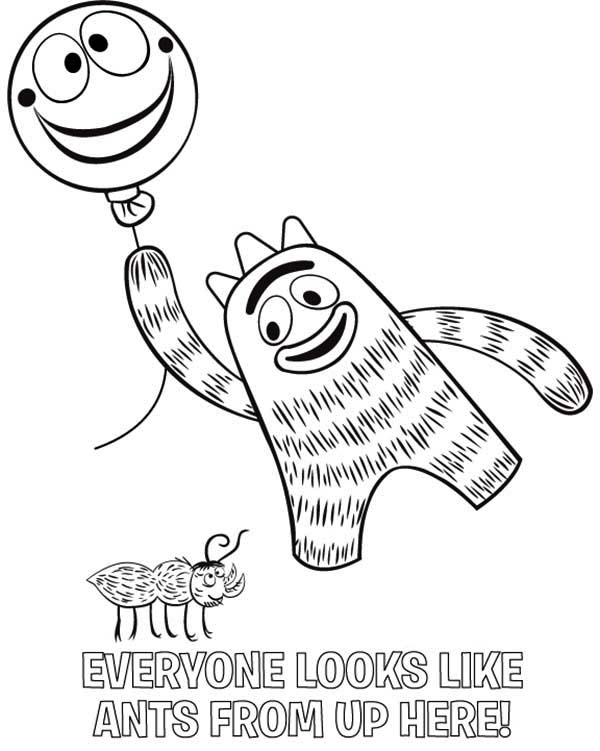 Yo Gabba Gabba, : Brobee Holding Balloon and Smile to an Ant in Yo Gabba Gabba Coloring Page 2