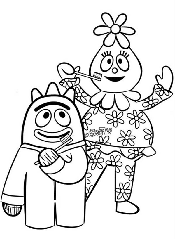 Yo Gabba Gabba, : Brobee and Foofa Want to Brush Their Teeth in Yo Gabba Gabba Coloring Page