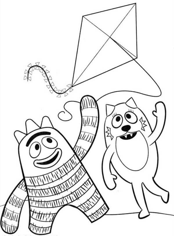 Yo Gabba Gabba, : Brobee and Toodee Playing Kite in Yo Gabba Gabba Coloring Page