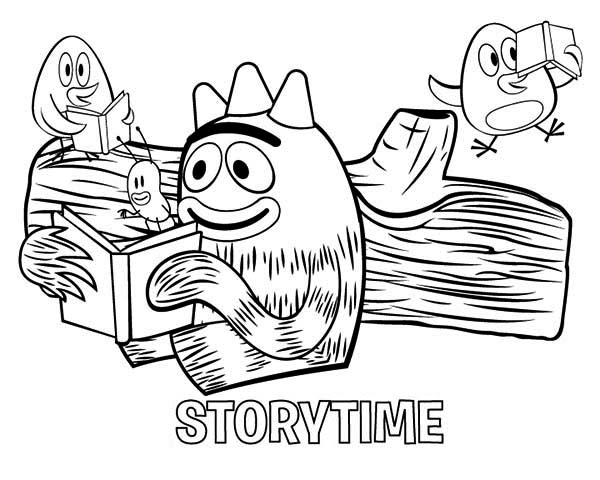 Brobee is loved to read in yo gabba gabba coloring page for Brobee coloring page