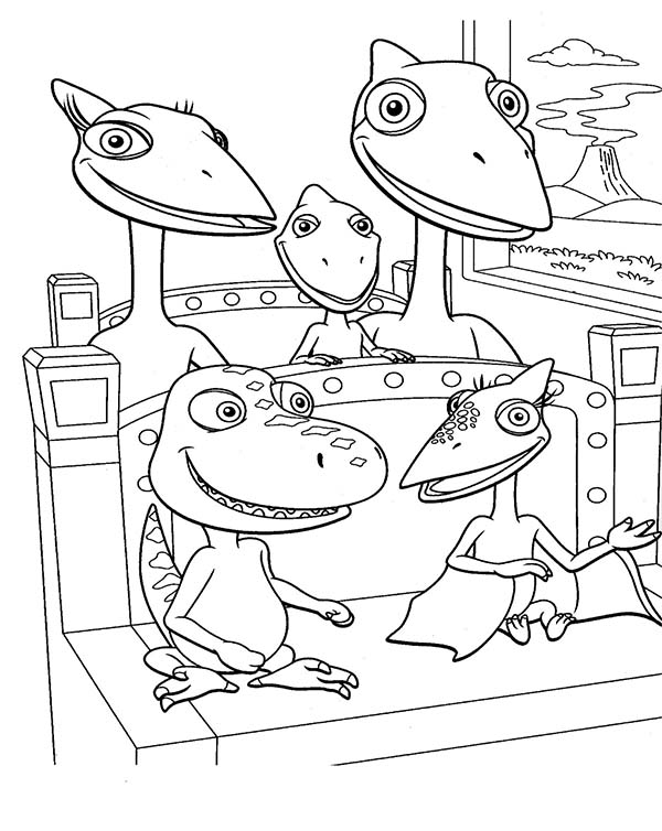 Dinosaurus Train, : Buddy and Tiny Ride Train with Shiny Family in Dinosaurus Train Coloring Page