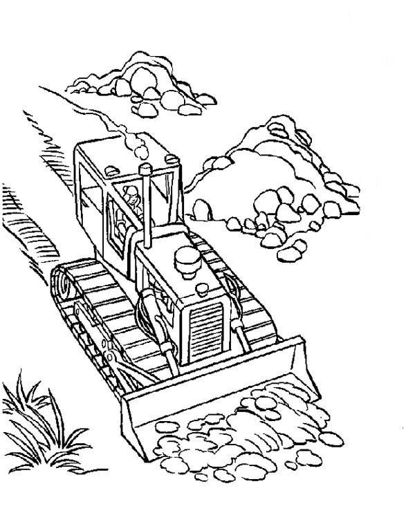 Bulldozer, : Bulldozer Cleaning Road from Dirt Coloring Page