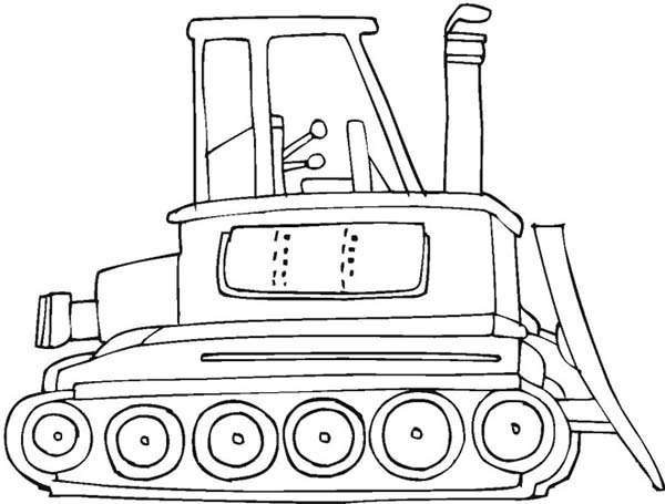Bulldozer, : Bulldozer Coloring Page for Kids