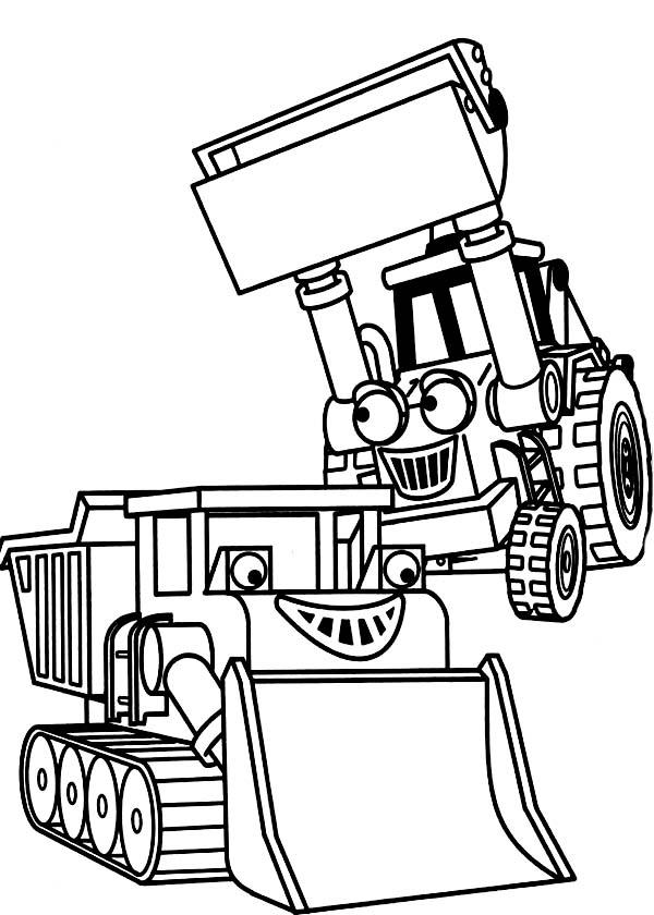 Bulldozer, : Bulldozer in Bob the Builder Coloring Page