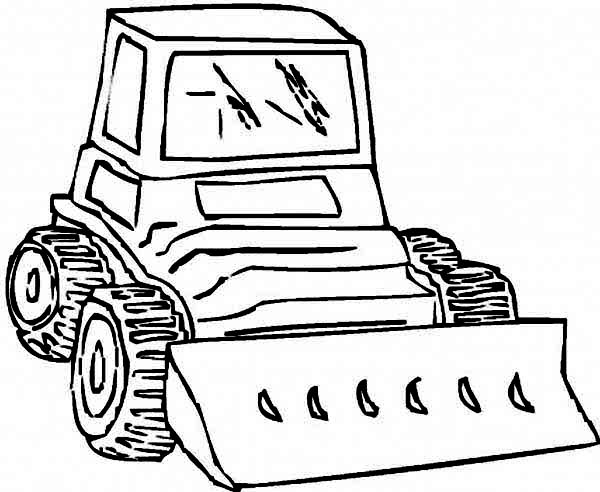 Bulldozer, : Strong Bulldozer is Ready to Work Coloring Page