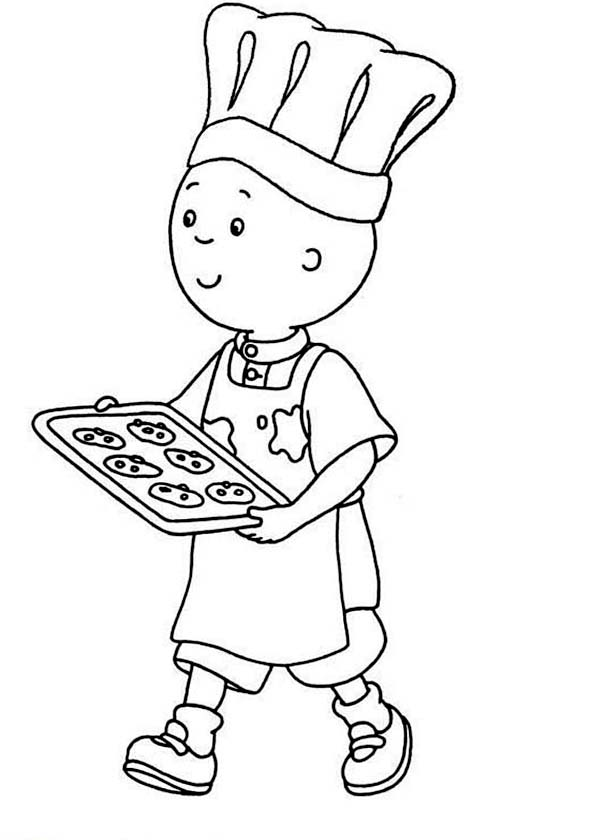 Caillou, : Caillou Bake Cookie Coloring Page