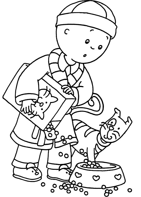 Caillou Feed Gilbert with Cat Food Coloring Page | Coloring Sun
