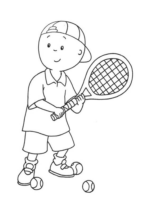 Caillou Learn to Play Tennis Coloring Page | Coloring Sun