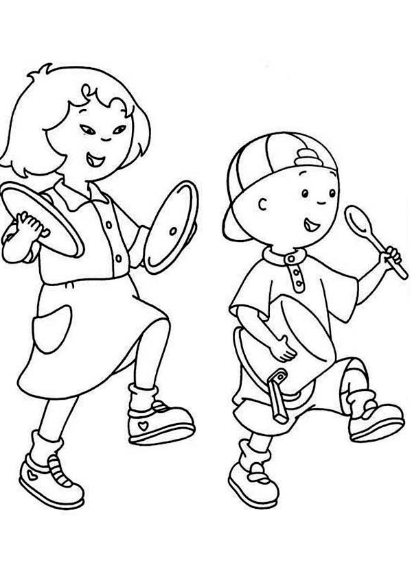 Caillou, : Caillou March with Sarah Coloring Page