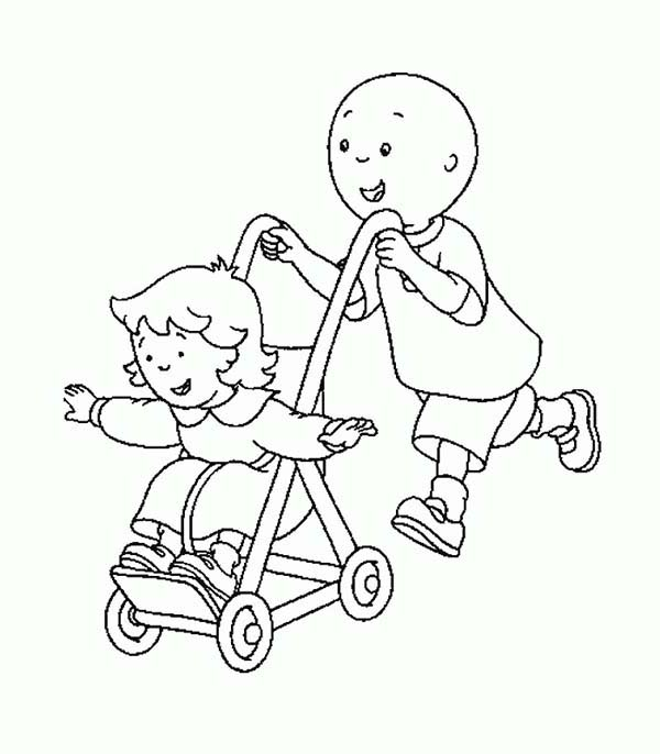 Caillou, : Caillou Pull Rosie on Her Cart Coloring Page