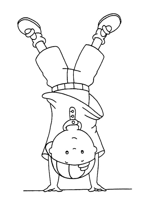 Caillou, : Caillou Standing Upside Down Coloring Page