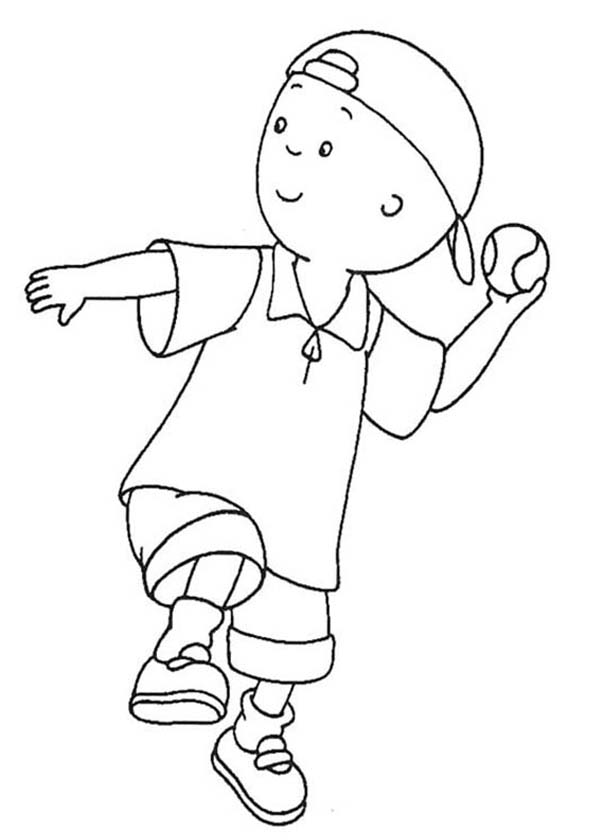 Caillou, : Caillou Throwing Baseball Coloring Page